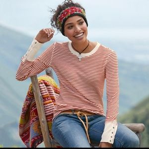 Sundance elemental striped thermal waffle knit top
